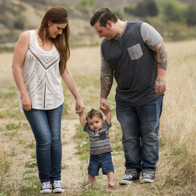 One year and walking, family portraits in Rancho Cucamonga