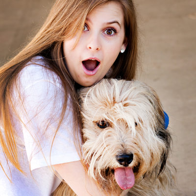 Girl and her dog, High school senior portraits.