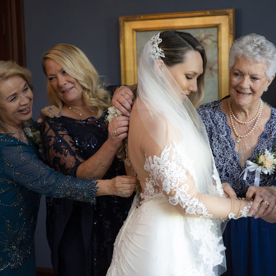 Three Generations of ladies getting ready for the wedding
