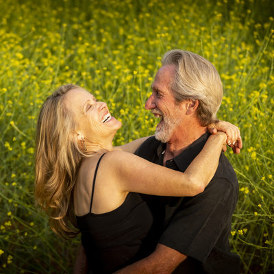 Fun couple at their Spring Redlands Engagement session