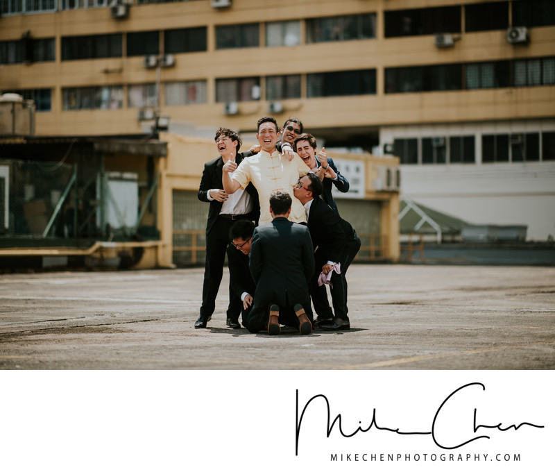 Groomsmen Having Fun During Actual Day Wedding Photography Singapore