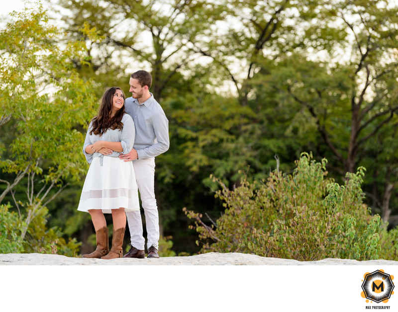 Couple in Love at McKinney Falls State Park Engagement