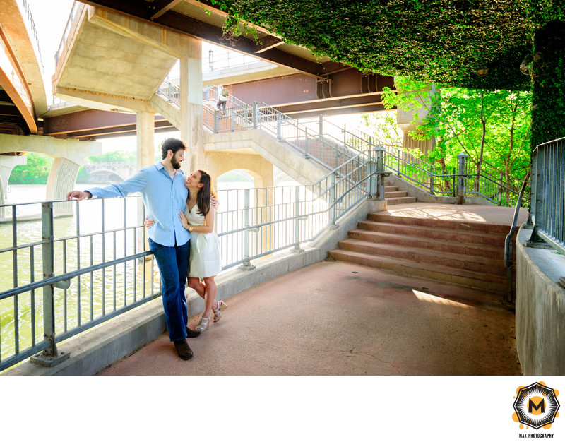 Engaged Couple Under the Bridge on Ladybird Lake