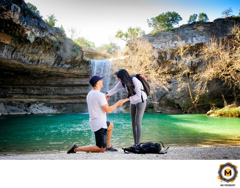 Hamilton Pool Wedding Proposal Photography