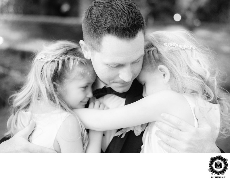 Tender Moment: Groom with His Two Young Daughters