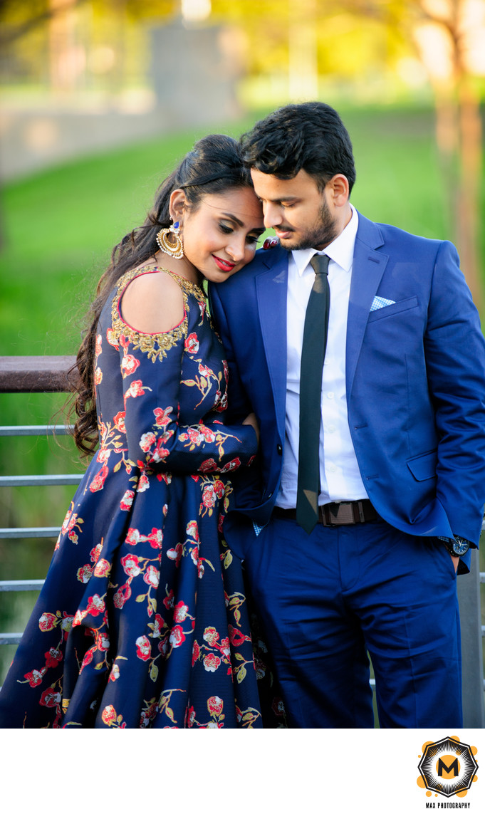 Shared Tender Moment Between Stylish Engaged Couple