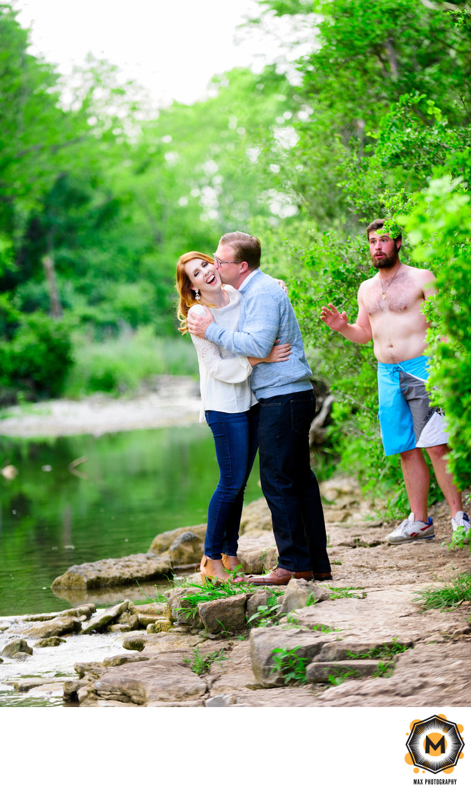 Funny Engagement Session Photo of Couple Outdoors
