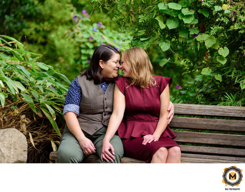 Lesbian Engagement Session at Zilker Botanical Garden