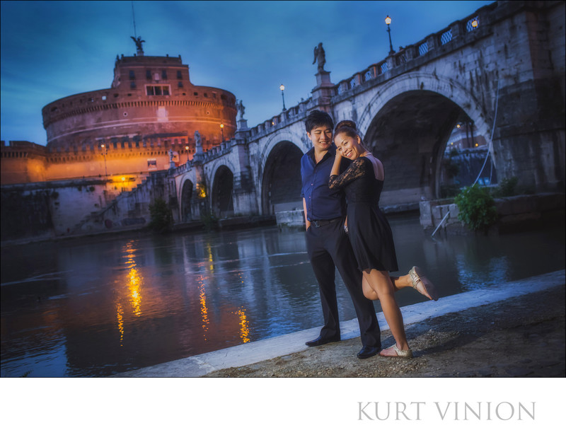 A Castle Sant'Angelo pre-wedding shoot in Rome