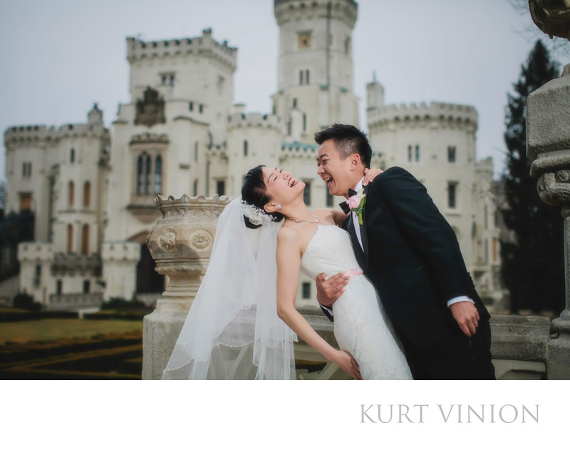 Castle Hluboka winter wedding portrait photography