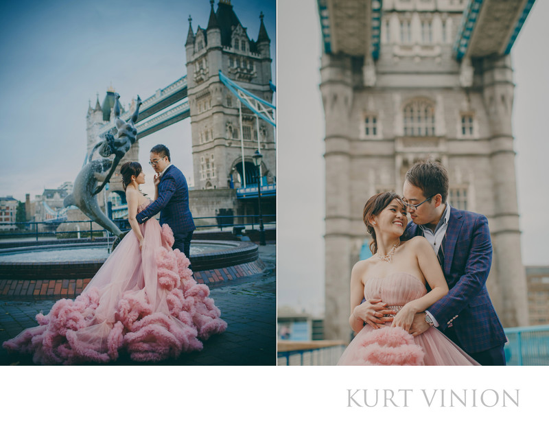 London Tower Bridge pre wedding photos Pink dress