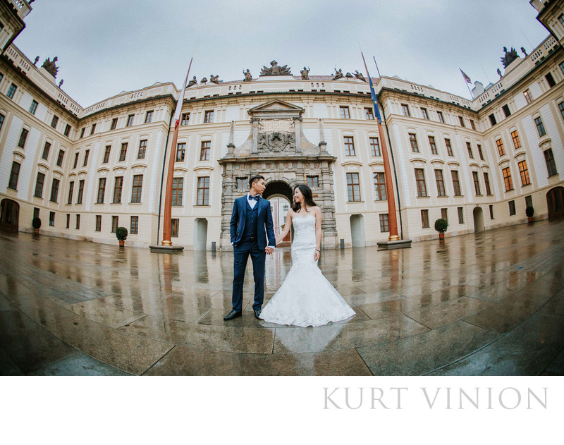 destination pre wedding photo captured at Prague Castle