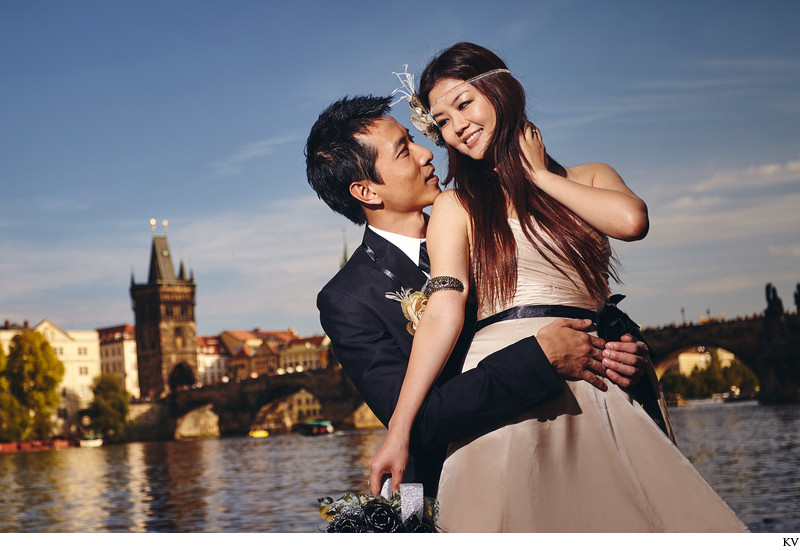 a magazine styled pre wedding portrait in Prague
