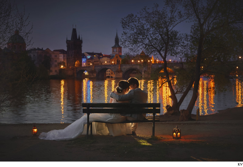 romantic night portrait couple near Charles Bridge