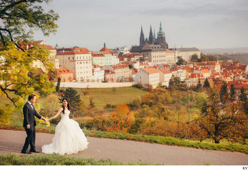 walking hand in hand Prague Castle Autumn pre wedding