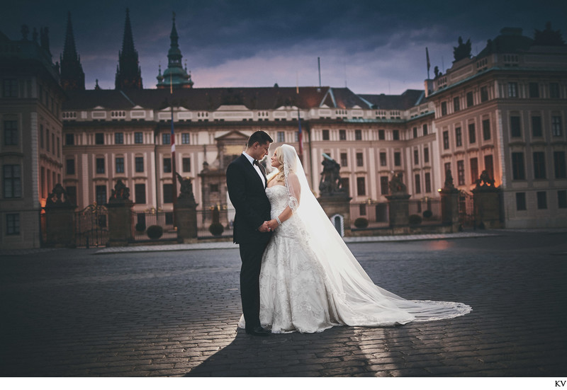vintage inspired wedding portrait at Prague Castle