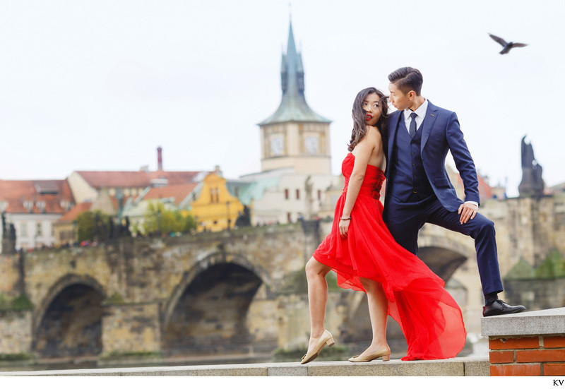 Luxury art-directed pre-wedding photography in Prague