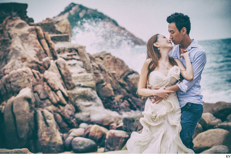 Jenny Packham design Hong Kong pre wedding Shek O Beach