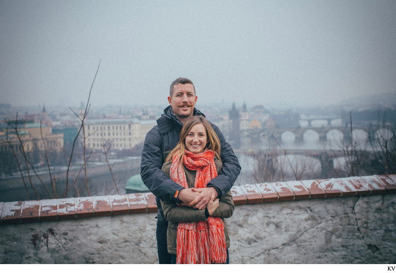 The happy newly engaged N&J above Prague