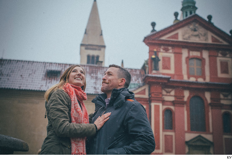 Exploring Prague Castle I N&J winter marriage proposal