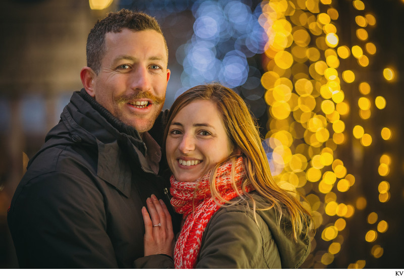 The happy newly engaged XMas Market Prague Old Town