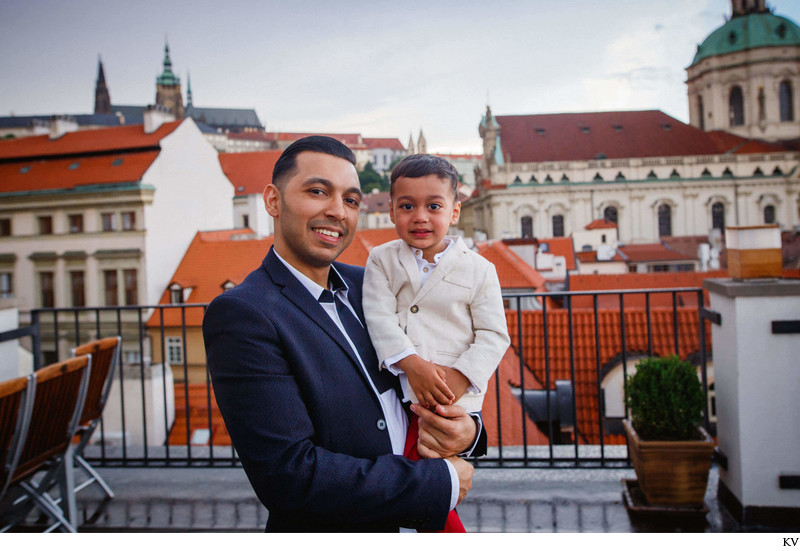 father and his nephew atop the Aria Hotel in Prague