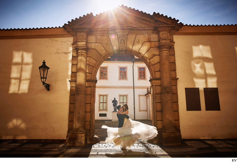 Spinning the bride-to-be in Prague Golden Light photos
