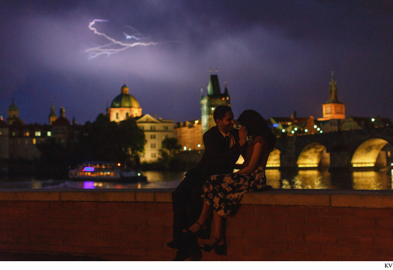 romantic Prague marriage proposal lightning skies