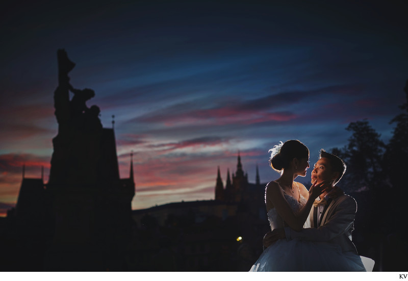 Prague skyline beautiful couple sunset portrait