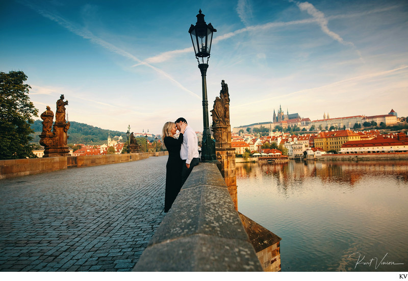 Panoramic view of lovers Charles Bridge Prague photo