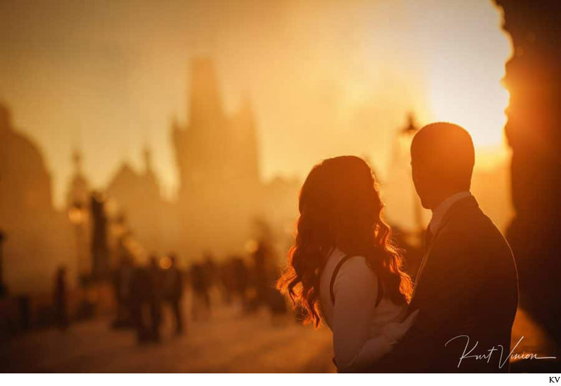 S+T Golden Light Hour as fog rises Charles Bridge