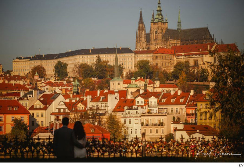 Watching the sunrise towards Prague Castle engagement
