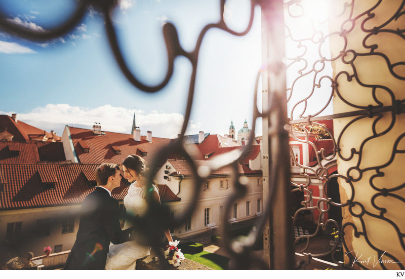 Wedding couple at Ledeburska - luxury weddings Prague