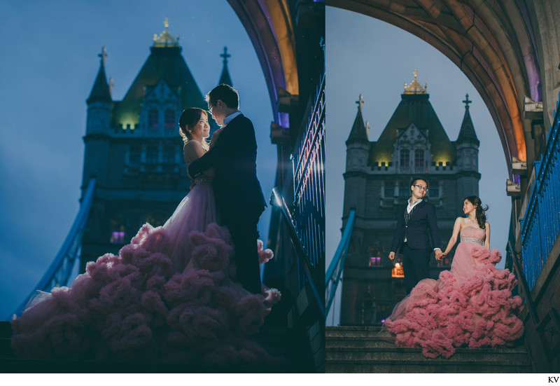 pink wedding dress London Tower Bridge sunrise photos