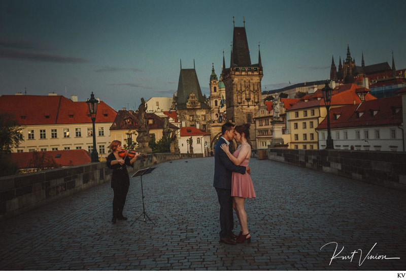 A small embrace for the newly engaged Charles Bridge