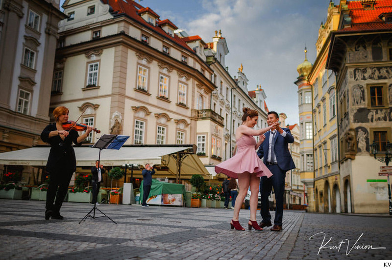 Dancing as the violinist plays on the day she said YES