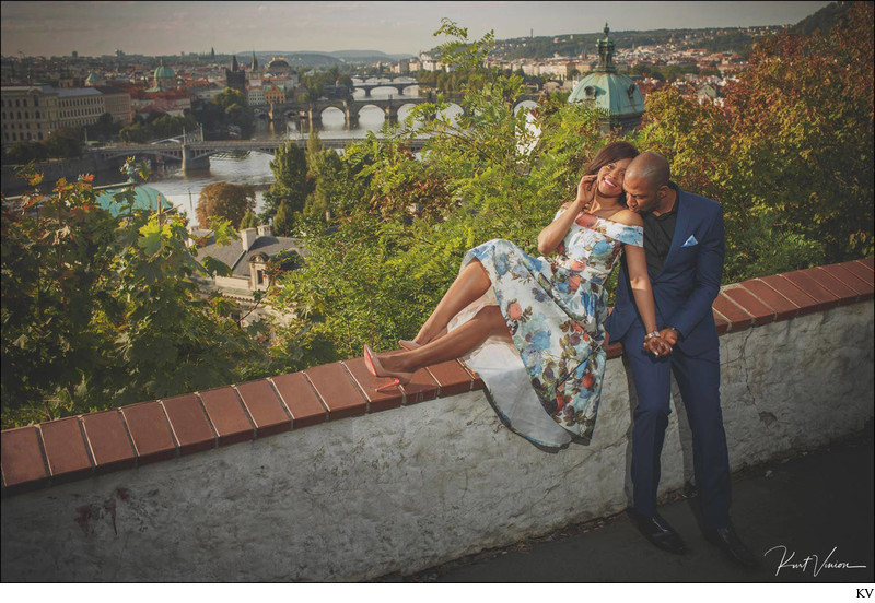 the sexy couple overlooking Prague A&E