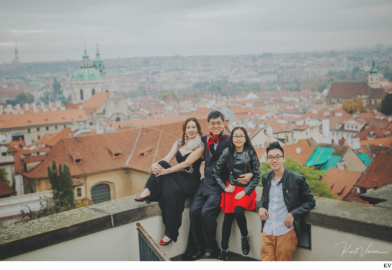 family photo overlooking Mala Strana from Prague Castle