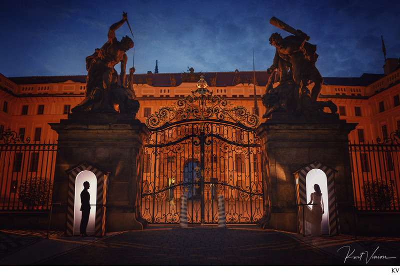 Creative Night Time Engagement Photos Prague Castle