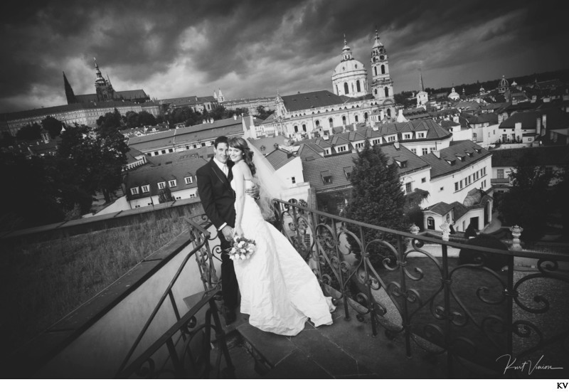 Beautiful B&W wedding photo sexy couple above Prague