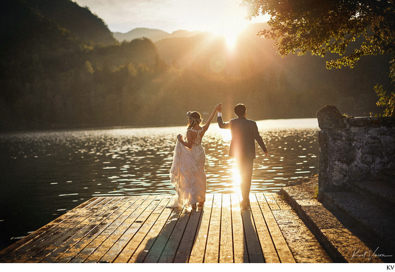 Celebrating their wedding at Lake Bled Slovenia