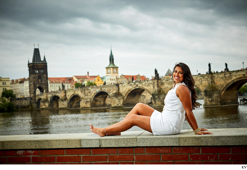A cheeky portrait of the high school senior in Prague