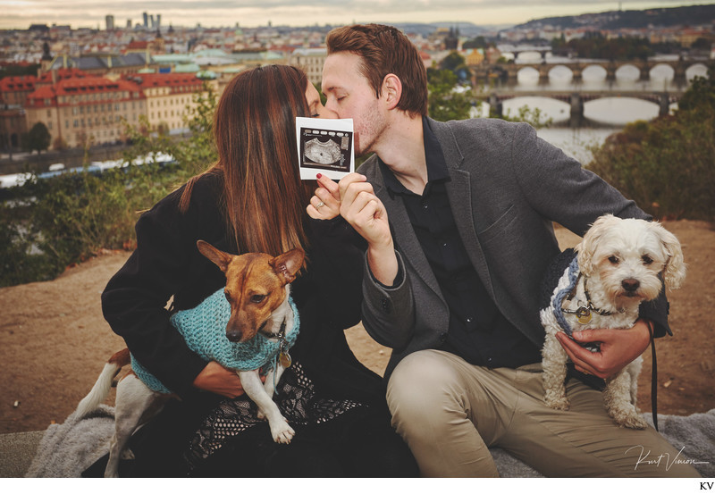 Celebrating the good news in Prague Pregnancy photo