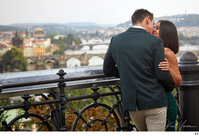 Prague marriage proposal: at the overlook