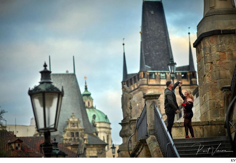 A dance atop the Kampa Steps - Prague marriage proposal
