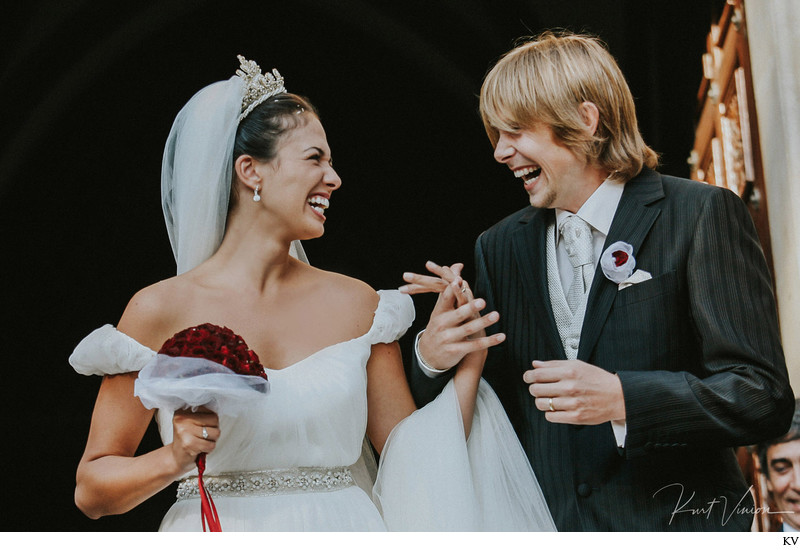A+M react after marrying at Church of Ludmila in Prague