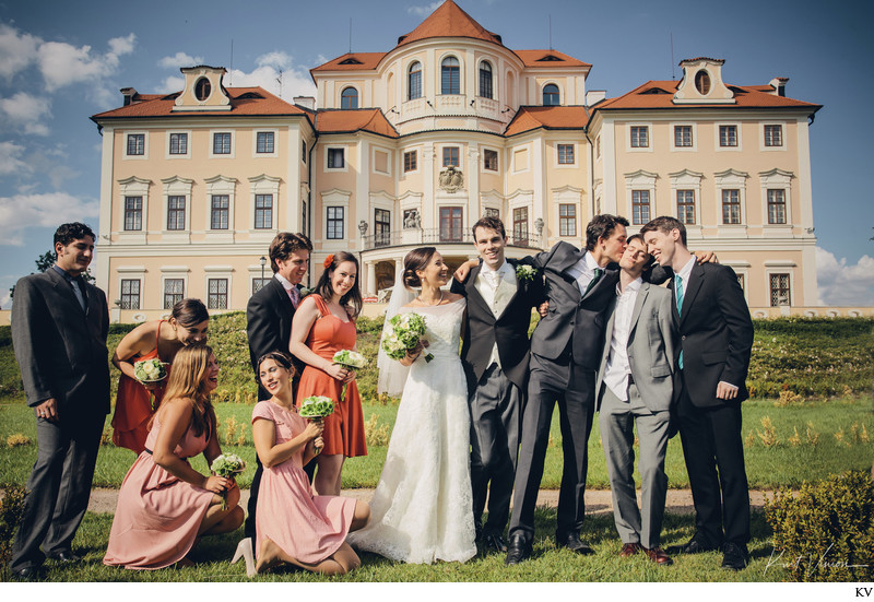 Bride & Groom with wedding party Chateau Liblice