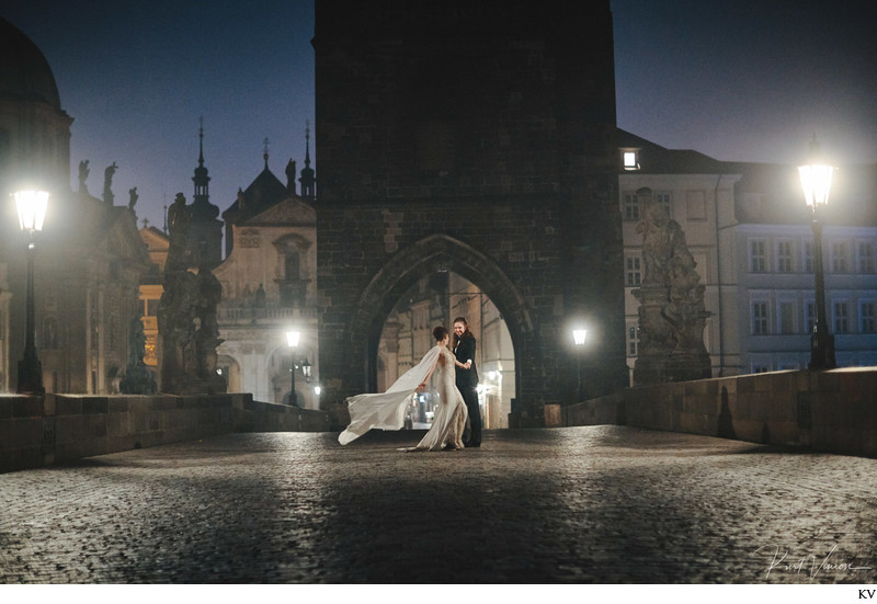 S&M magical Prague night time portraits Charles Bridge