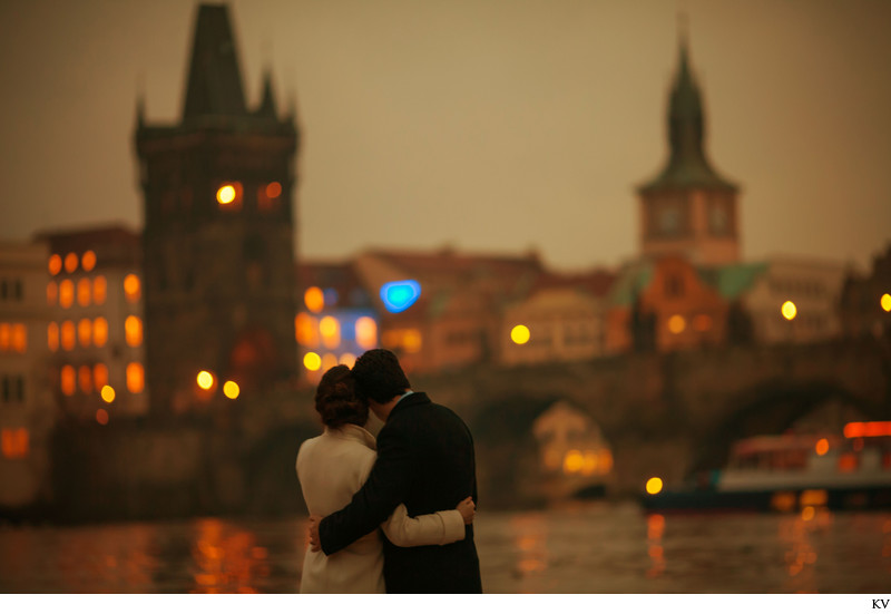 romantic night time couple shoots Prague post wedding