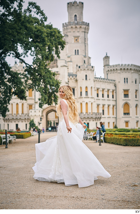 Hluboka nad Vltavou Castle wedding happiest bride